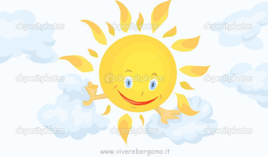 Smiling sun in the clouds. Vector illustration clipart done in cartoon style on a white background isolated cut. Perfect for illustration children's books, postcards, calendars, posters