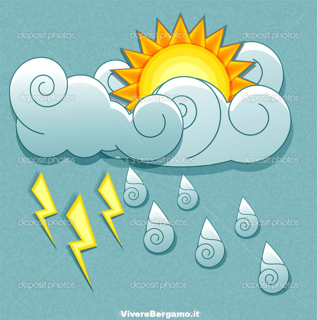 Vector weather icons in retro style. Sun behind the clouds and rain drops and lightning