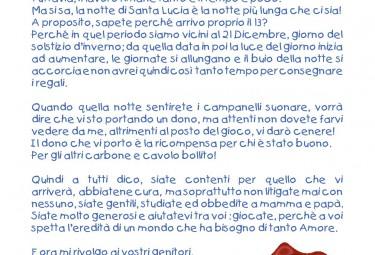 Lettera di Santa Lucia ai bambini ricoverati