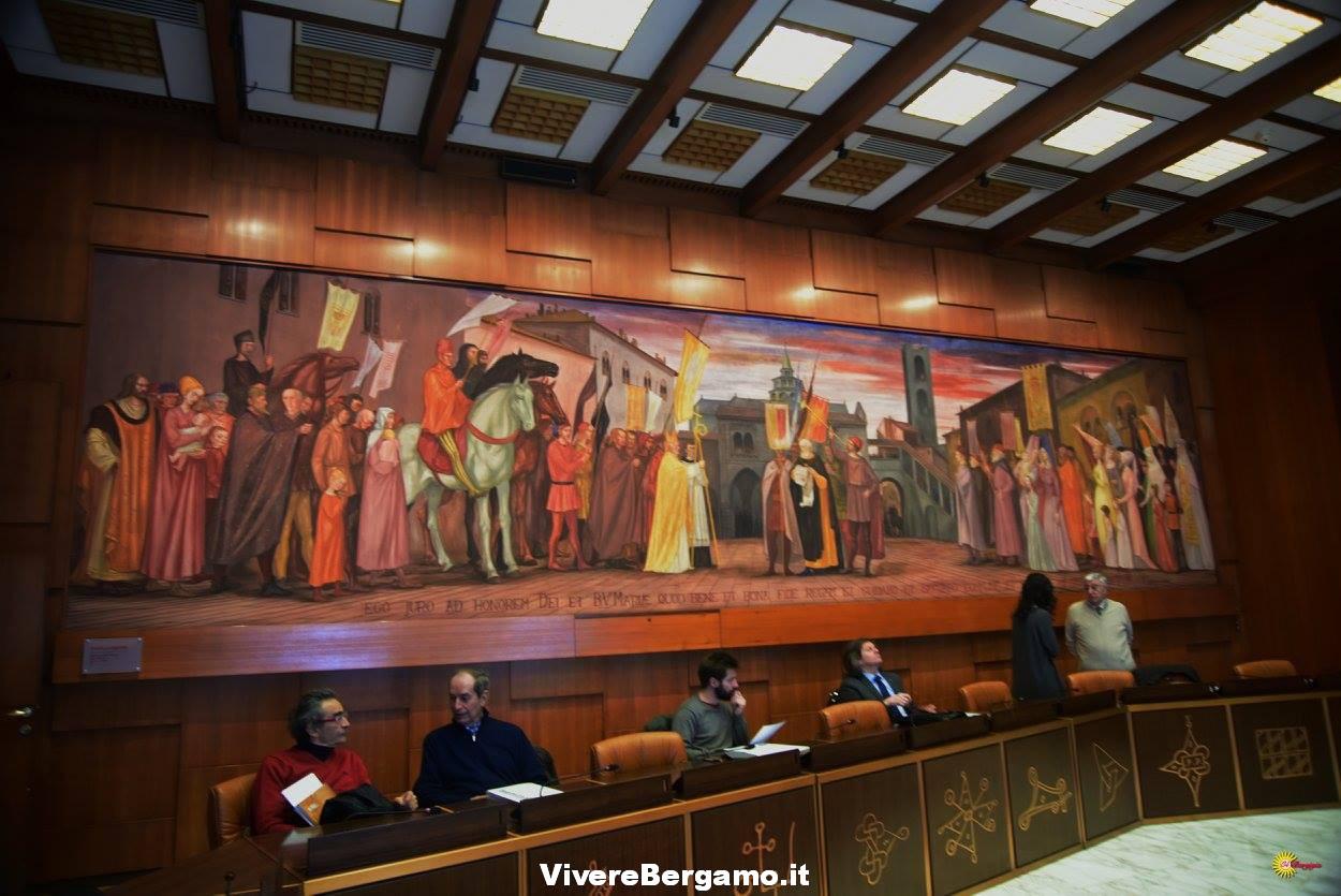Dipinto Longaretti sala conferenza Credito Bergamasco